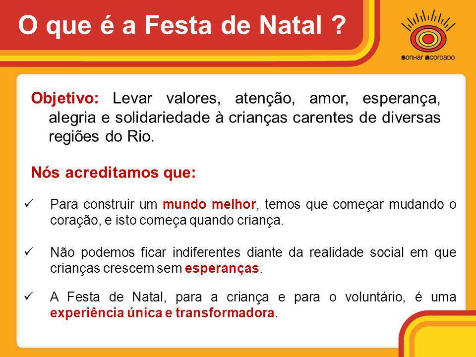Objetivo: Levar valores, atenção, amor, esperança, alegria e solidariedade à crianças carentes de diversas regiões do Rio. Nós acreditamos que:  Não