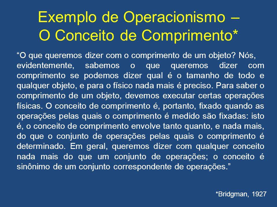 """Exemplo de Operacionismo – O Conceito de Comprimento* """"O que queremos dizer com o comprimento de um objeto? Nós, evidentemente, sabemos o que queremos"""