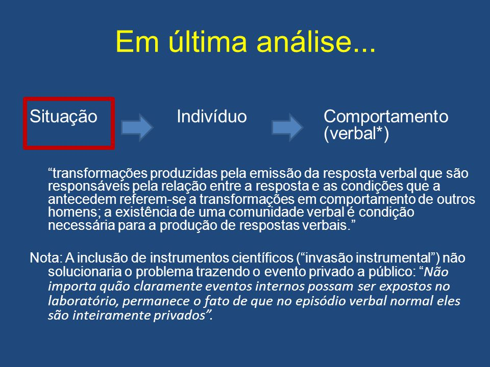 """Em última análise... Situação IndivíduoComportamento (verbal*) """"transformações produzidas pela emissão da resposta verbal que são responsáveis pela re"""