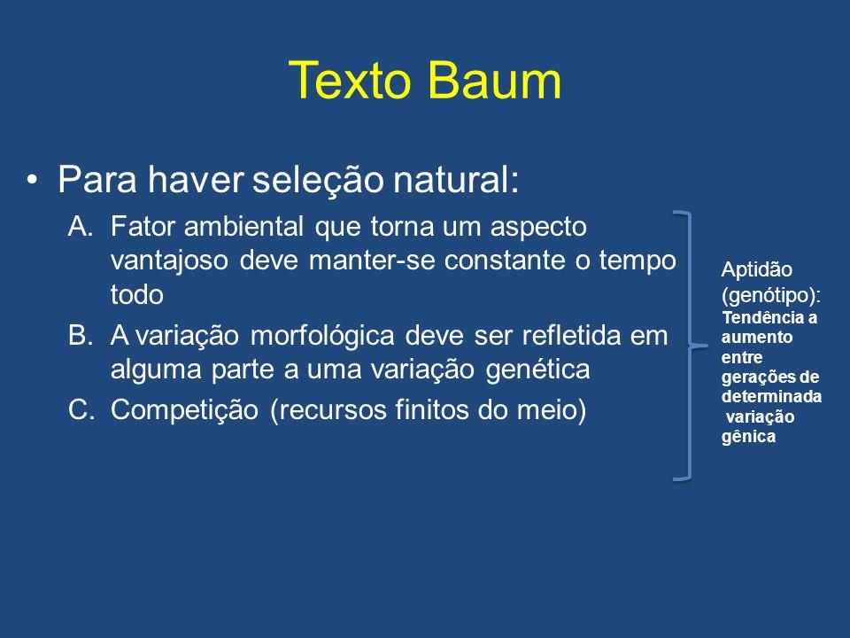 Texto Baum •Para haver seleção natural: A.Fator ambiental que torna um aspecto vantajoso deve manter-se constante o tempo todo B.A variação morfológic