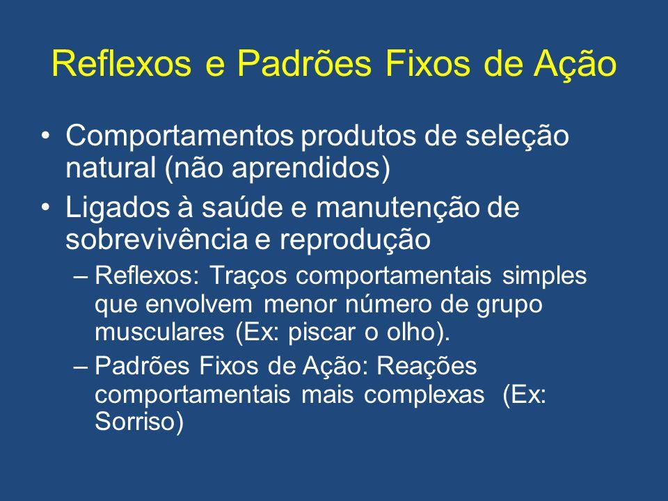 Reflexos e Padrões Fixos de Ação •Comportamentos produtos de seleção natural (não aprendidos) •Ligados à saúde e manutenção de sobrevivência e reprodu