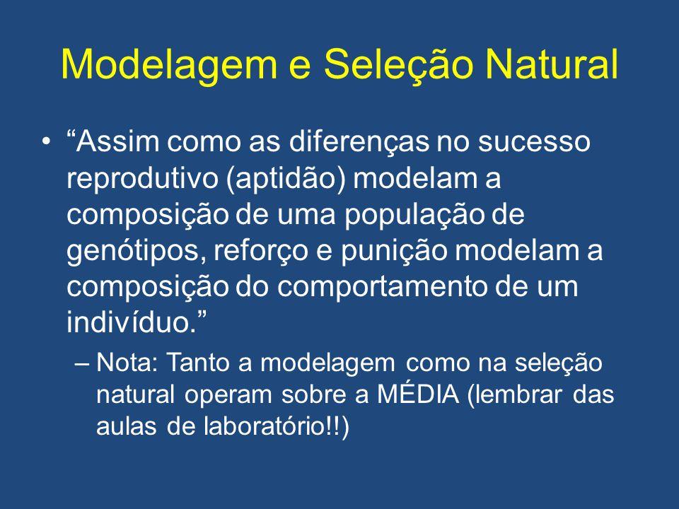 """Modelagem e Seleção Natural •""""Assim como as diferenças no sucesso reprodutivo (aptidão) modelam a composição de uma população de genótipos, reforço e"""
