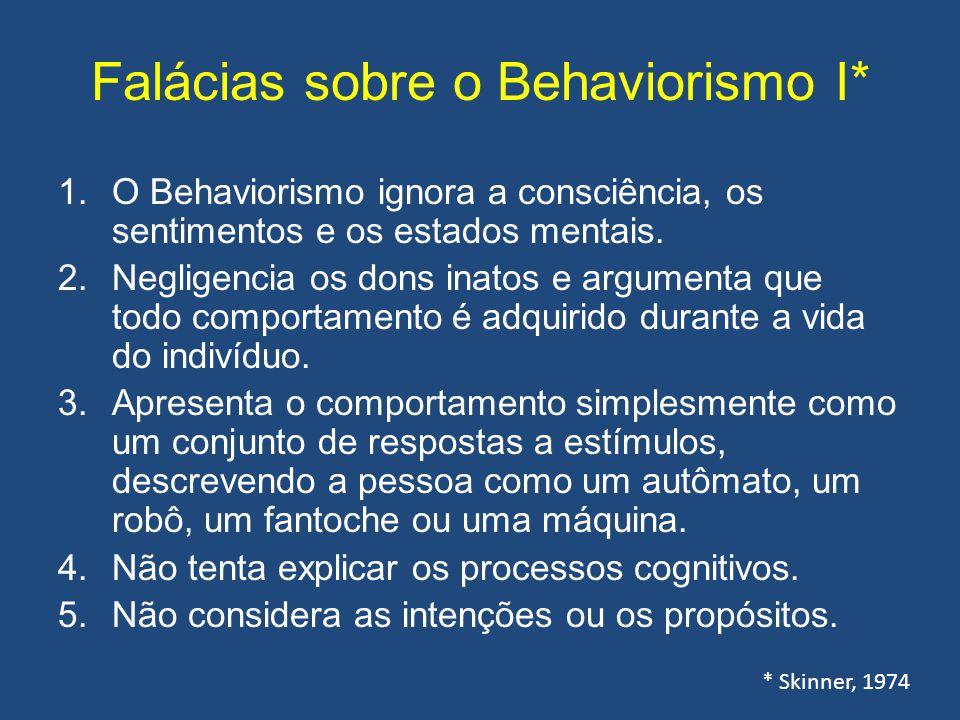 Falácias sobre o Behaviorismo I* 1.O Behaviorismo ignora a consciência, os sentimentos e os estados mentais. 2.Negligencia os dons inatos e argumenta