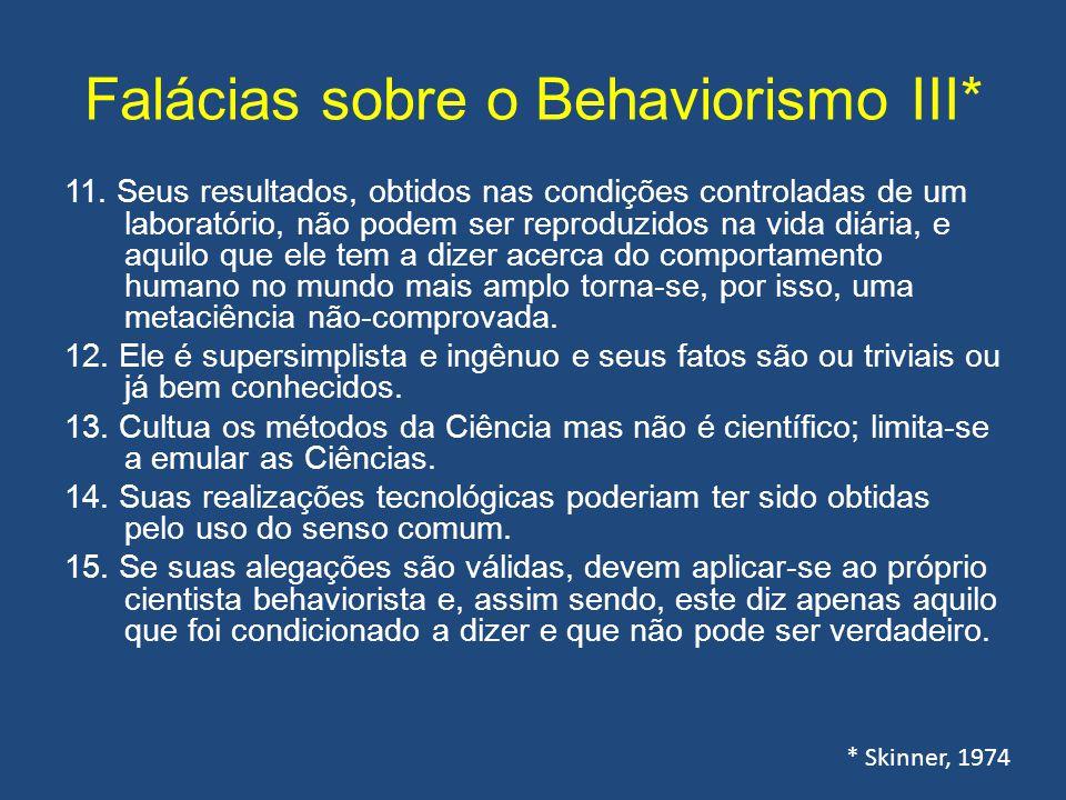 Falácias sobre o Behaviorismo III* 11. Seus resultados, obtidos nas condições controladas de um laboratório, não podem ser reproduzidos na vida diária