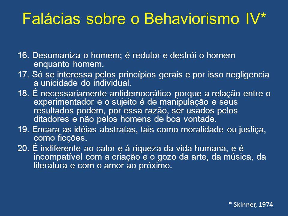 Falácias sobre o Behaviorismo IV* 16. Desumaniza o homem; é redutor e destrói o homem enquanto homem. 17. Só se interessa pelos princípios gerais e po