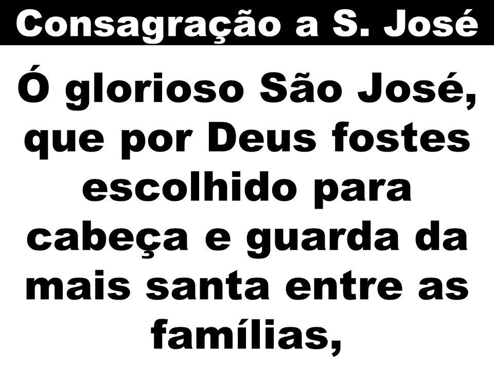 Ó glorioso São José, que por Deus fostes escolhido para cabeça e guarda da mais santa entre as famílias, Consagração a S. José