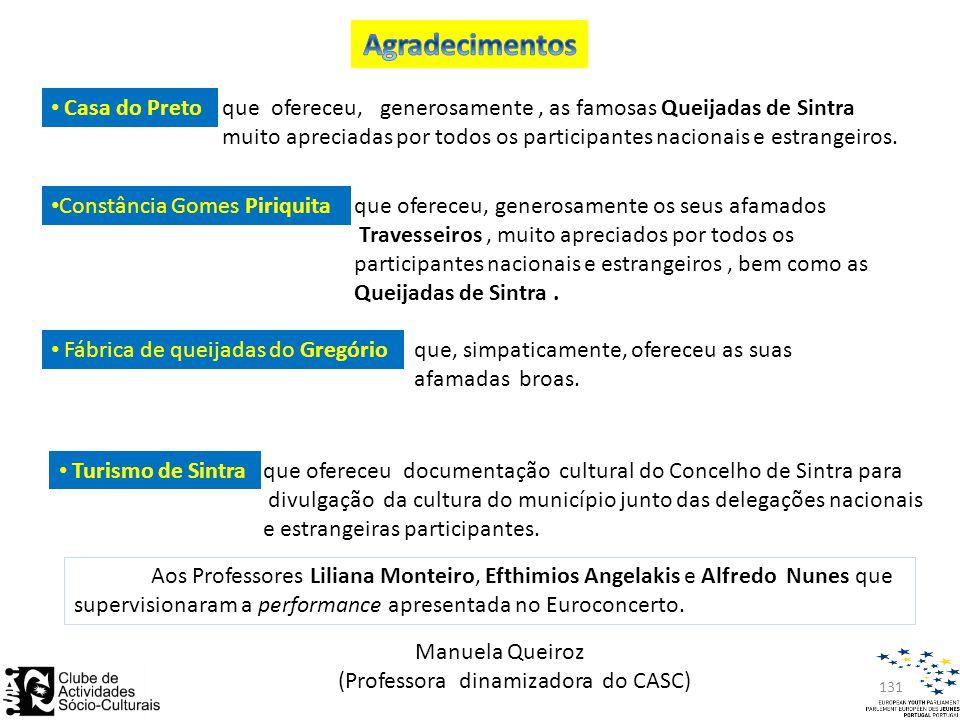 131 • Turismo de Sintraque ofereceu documentação cultural do Concelho de Sintra para divulgação da cultura do município junto das delegações nacionais e estrangeiras participantes.