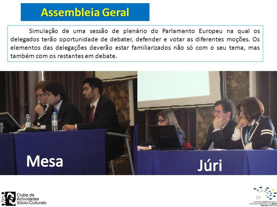 Assembleia Geral Simulação de uma sessão de plenário do Parlamento Europeu na qual os delegados terão oportunidade de debater, defender e votar as diferentes moções.