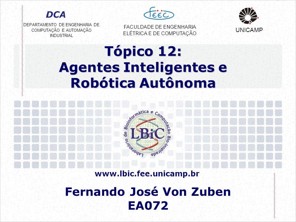 Tópico 12: Agentes Inteligentes e Robótica Autônoma Fernando José Von Zuben EA072 DEPARTAMENTO DE ENGENHARIA DE COMPUTAÇÃO E AUTOMAÇÃO INDUSTRIAL FACULDADE DE ENGENHARIA ELÉTRICA E DE COMPUTAÇÃO UNICAMP www.lbic.fee.unicamp.br