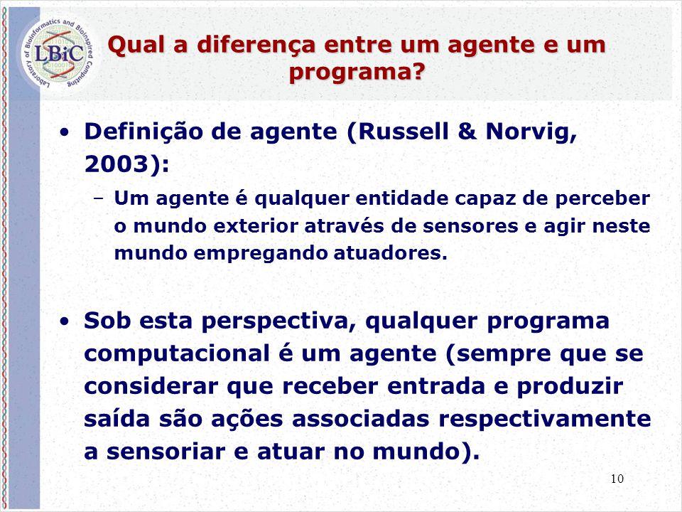 10 Qual a diferença entre um agente e um programa? •Definição de agente (Russell & Norvig, 2003): –Um agente é qualquer entidade capaz de perceber o m