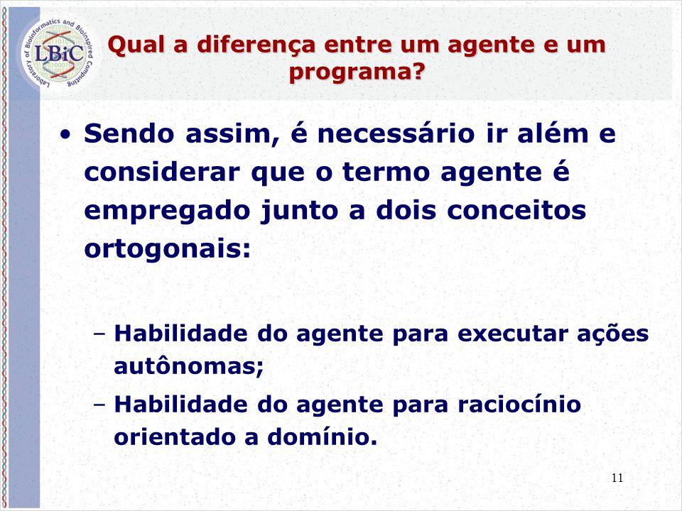 11 Qual a diferença entre um agente e um programa? •Sendo assim, é necessário ir além e considerar que o termo agente é empregado junto a dois conceit
