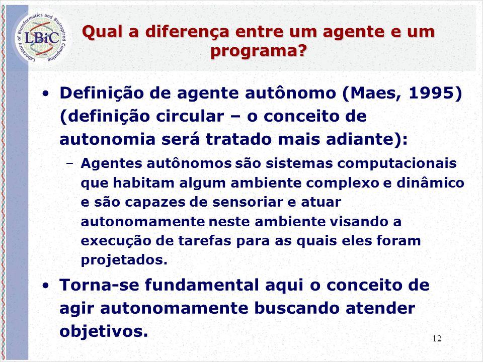 12 Qual a diferença entre um agente e um programa? •Definição de agente autônomo (Maes, 1995) (definição circular – o conceito de autonomia será trata