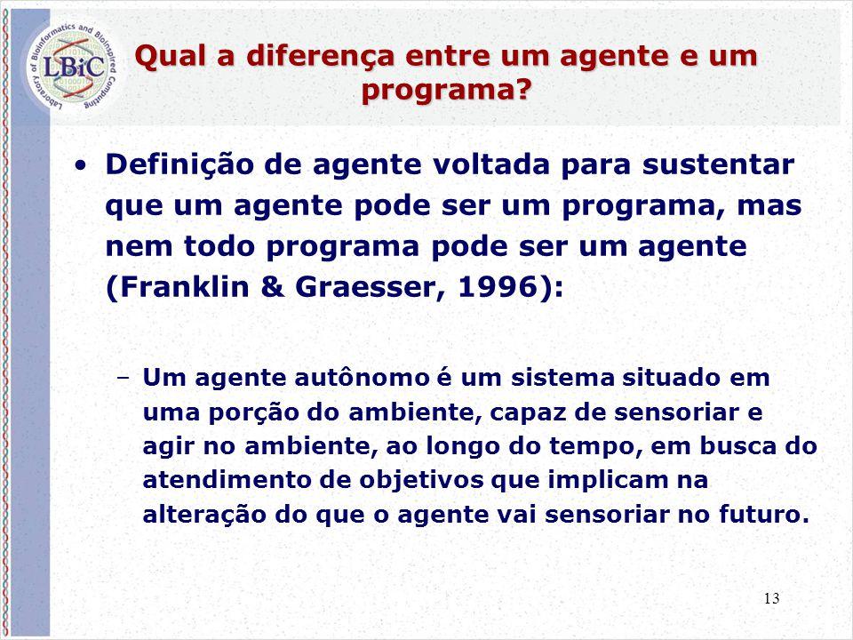 13 Qual a diferença entre um agente e um programa? •Definição de agente voltada para sustentar que um agente pode ser um programa, mas nem todo progra