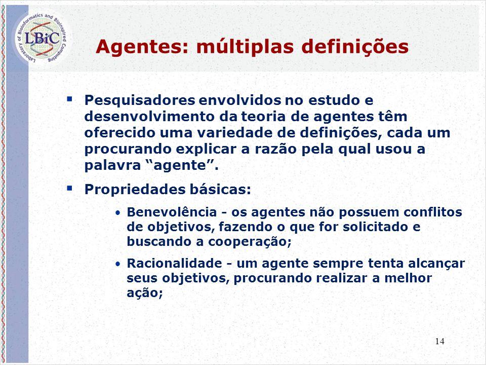 14 Agentes: múltiplas definições  Pesquisadores envolvidos no estudo e desenvolvimento da teoria de agentes têm oferecido uma variedade de definições, cada um procurando explicar a razão pela qual usou a palavra agente .