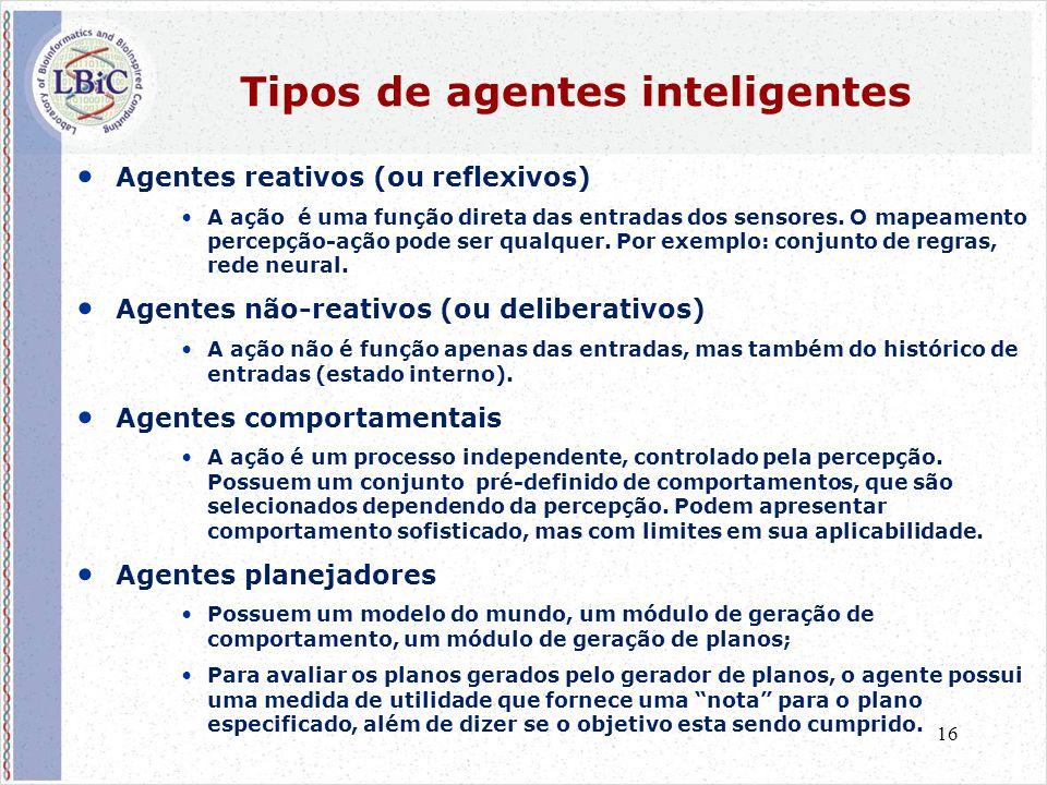 16 Tipos de agentes inteligentes • Agentes reativos (ou reflexivos) •A ação é uma função direta das entradas dos sensores. O mapeamento percepção-ação