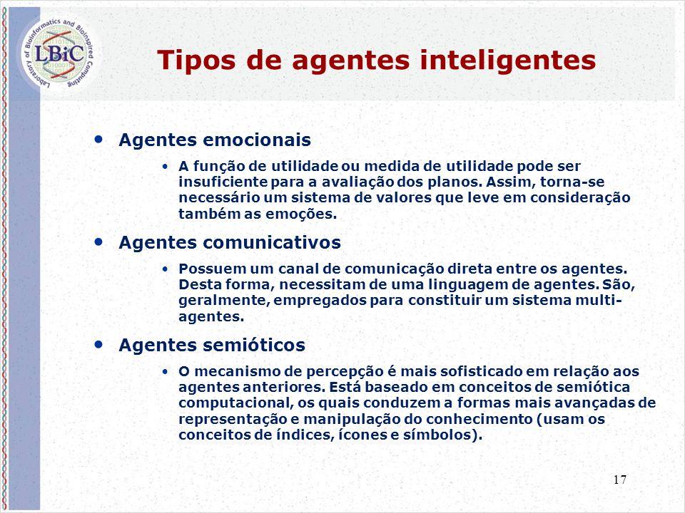 17 Tipos de agentes inteligentes • Agentes emocionais •A função de utilidade ou medida de utilidade pode ser insuficiente para a avaliação dos planos.