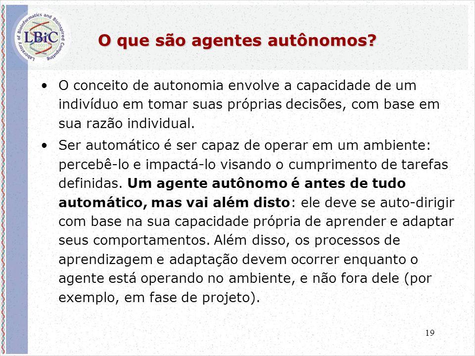 19 O que são agentes autônomos? •O conceito de autonomia envolve a capacidade de um indivíduo em tomar suas próprias decisões, com base em sua razão i