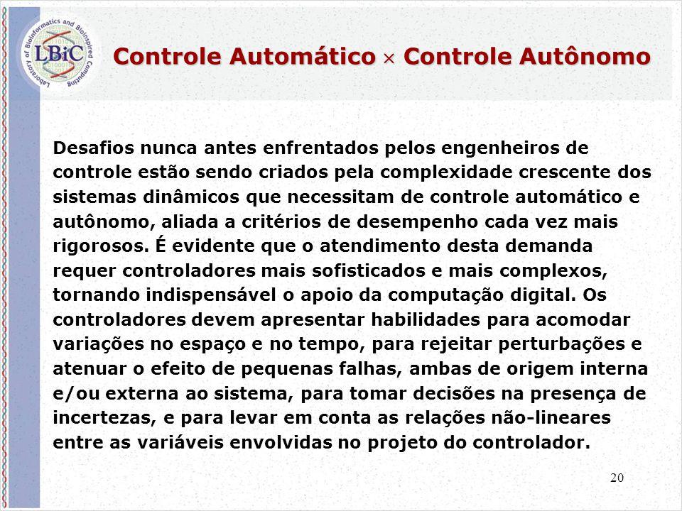 20 Controle Automático  Controle Autônomo Desafios nunca antes enfrentados pelos engenheiros de controle estão sendo criados pela complexidade crescente dos sistemas dinâmicos que necessitam de controle automático e autônomo, aliada a critérios de desempenho cada vez mais rigorosos.
