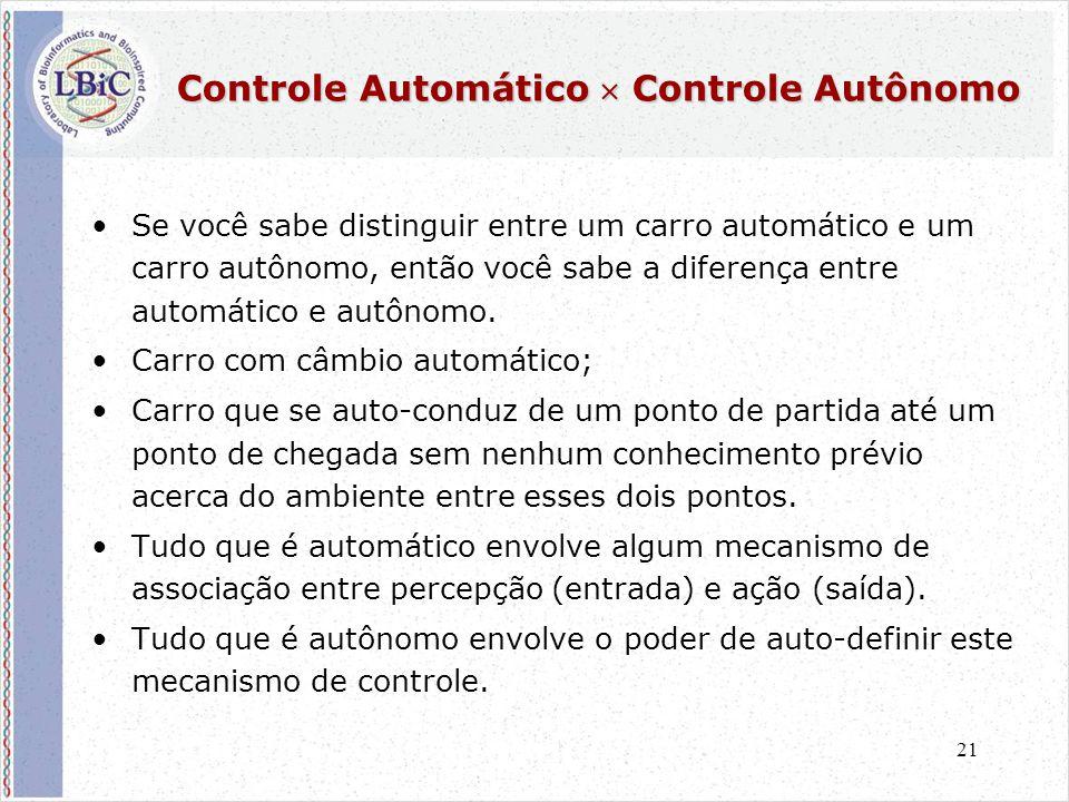 21 •Se você sabe distinguir entre um carro automático e um carro autônomo, então você sabe a diferença entre automático e autônomo. •Carro com câmbio
