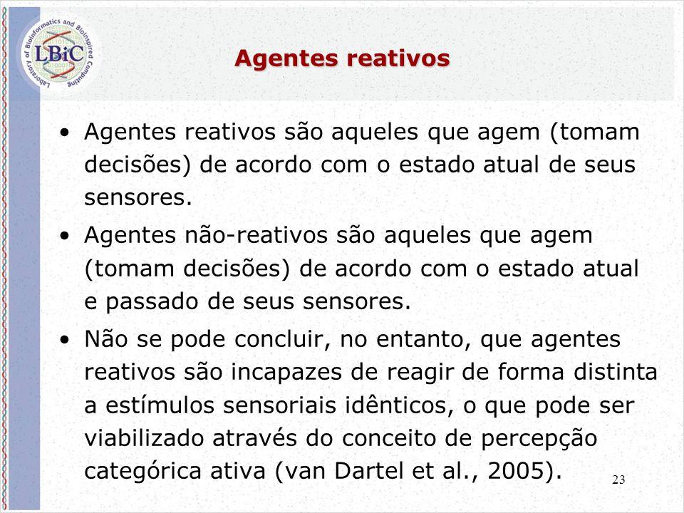 23 Agentes reativos •Agentes reativos são aqueles que agem (tomam decisões) de acordo com o estado atual de seus sensores.