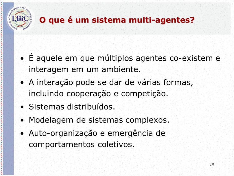 29 O que é um sistema multi-agentes? •É aquele em que múltiplos agentes co-existem e interagem em um ambiente. •A interação pode se dar de várias form