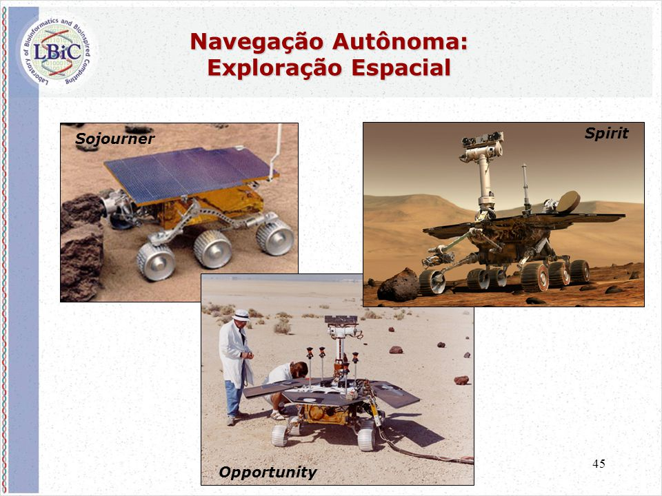 45 Navegação Autônoma: Exploração Espacial Sojourner Opportunity Spirit
