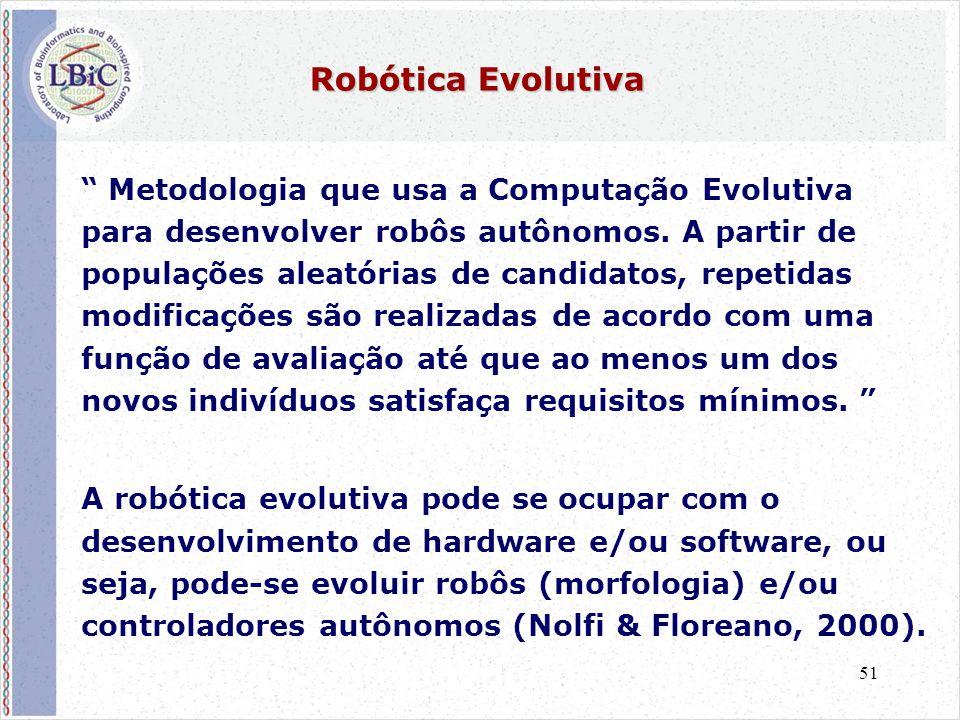 """51 Robótica Evolutiva """" Metodologia que usa a Computação Evolutiva para desenvolver robôs autônomos. A partir de populações aleatórias de candidatos,"""