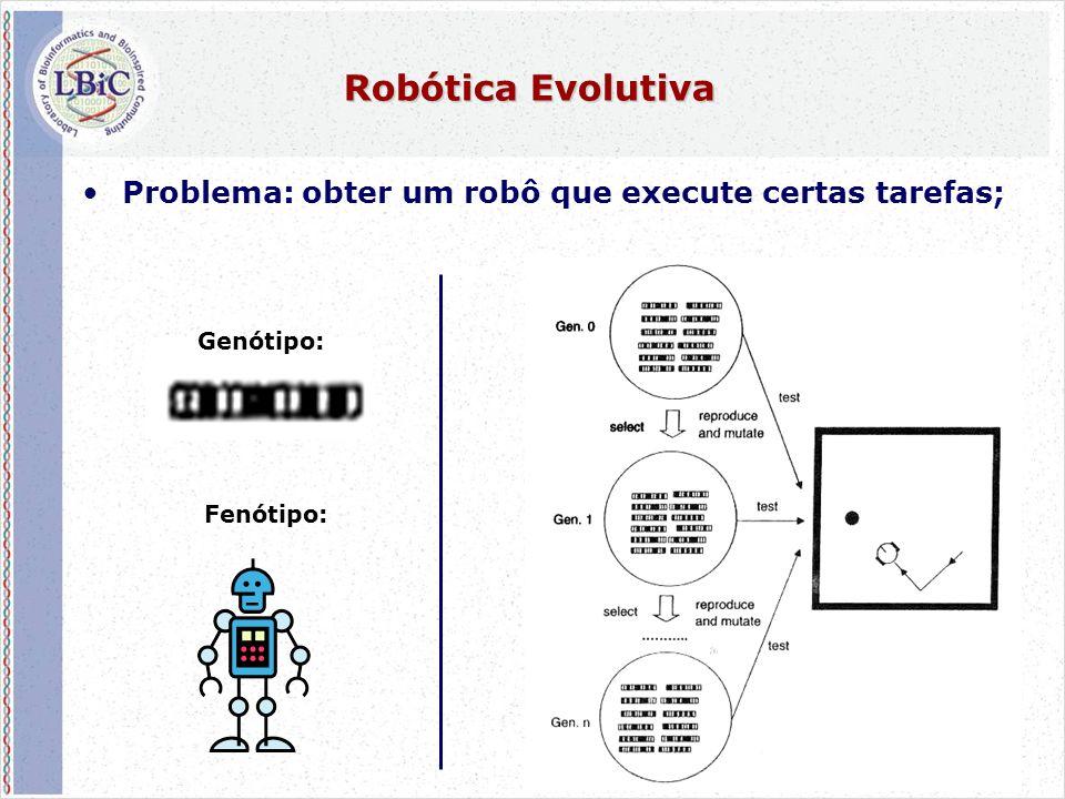 54 Robótica Evolutiva •Problema: obter um robô que execute certas tarefas; Fenótipo: Genótipo: