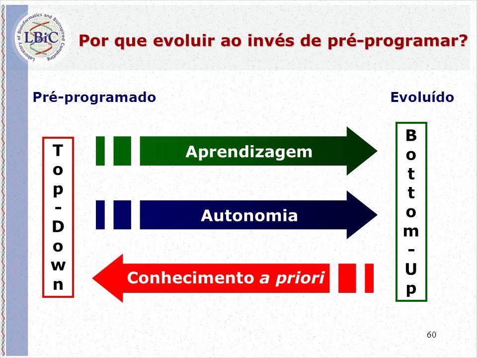 60 Por que evoluir ao invés de pré-programar? Autonomia Aprendizagem Conhecimento a priori Top-DownTop-Down Bottom-UpBottom-Up Pré-programadoEvoluído