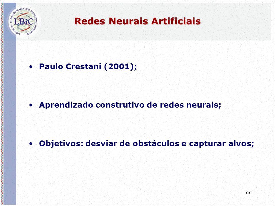 66 Redes Neurais Artificiais •Paulo Crestani (2001); •Aprendizado construtivo de redes neurais; •Objetivos: desviar de obstáculos e capturar alvos;
