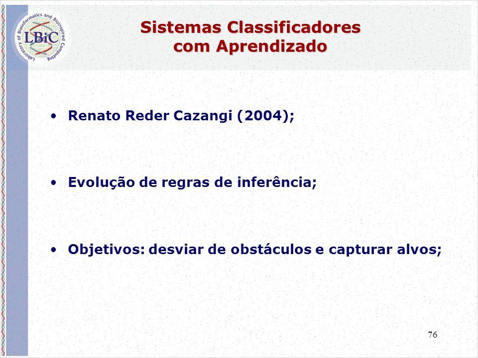 76 Sistemas Classificadores com Aprendizado •Renato Reder Cazangi (2004); •Evolução de regras de inferência; •Objetivos: desviar de obstáculos e capturar alvos;