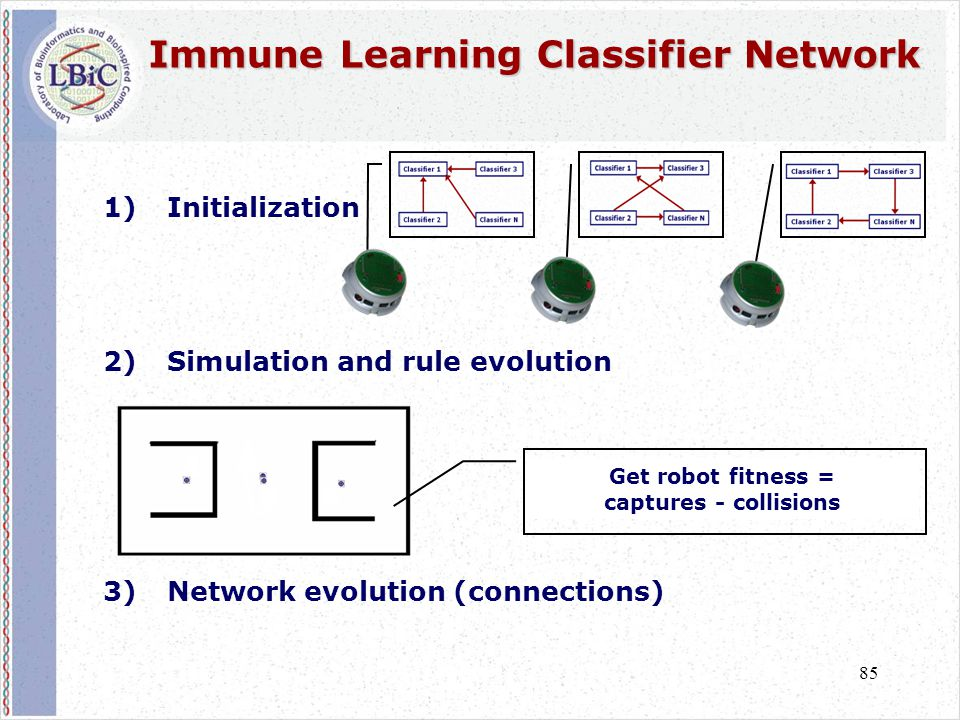 85 Immune Learning Classifier Network Immune Learning Classifier Network 1)Initialization 2)Simulation and rule evolution 3)Network evolution (connect