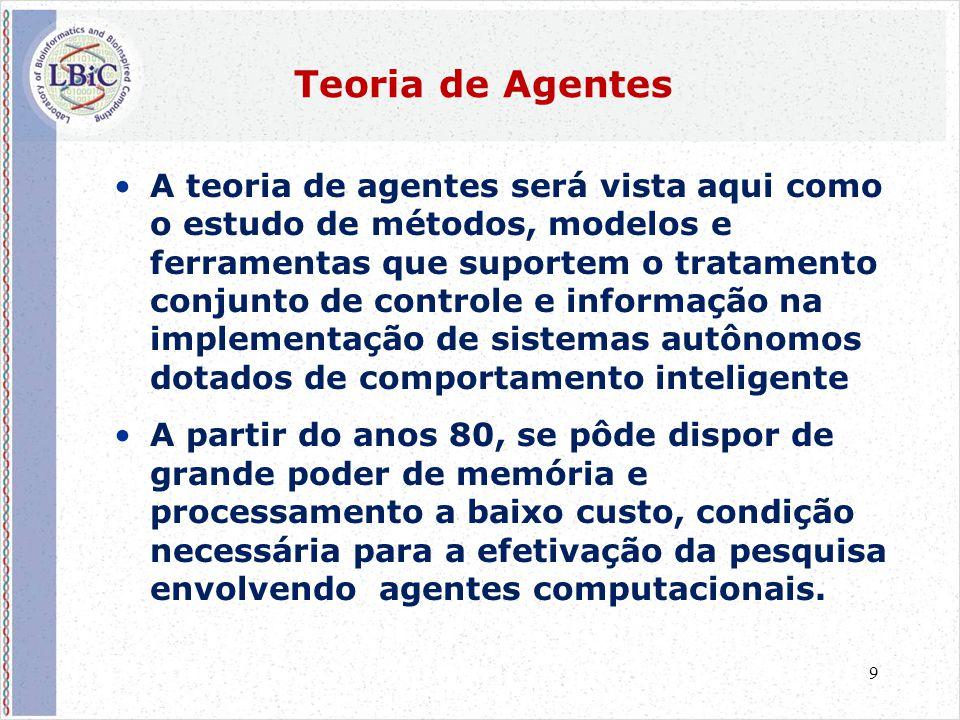 9 Teoria de Agentes •A teoria de agentes será vista aqui como o estudo de métodos, modelos e ferramentas que suportem o tratamento conjunto de control