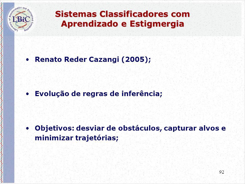 92 Sistemas Classificadores com Aprendizado e Estigmergia •Renato Reder Cazangi (2005); •Evolução de regras de inferência; •Objetivos: desviar de obstáculos, capturar alvos e minimizar trajetórias;