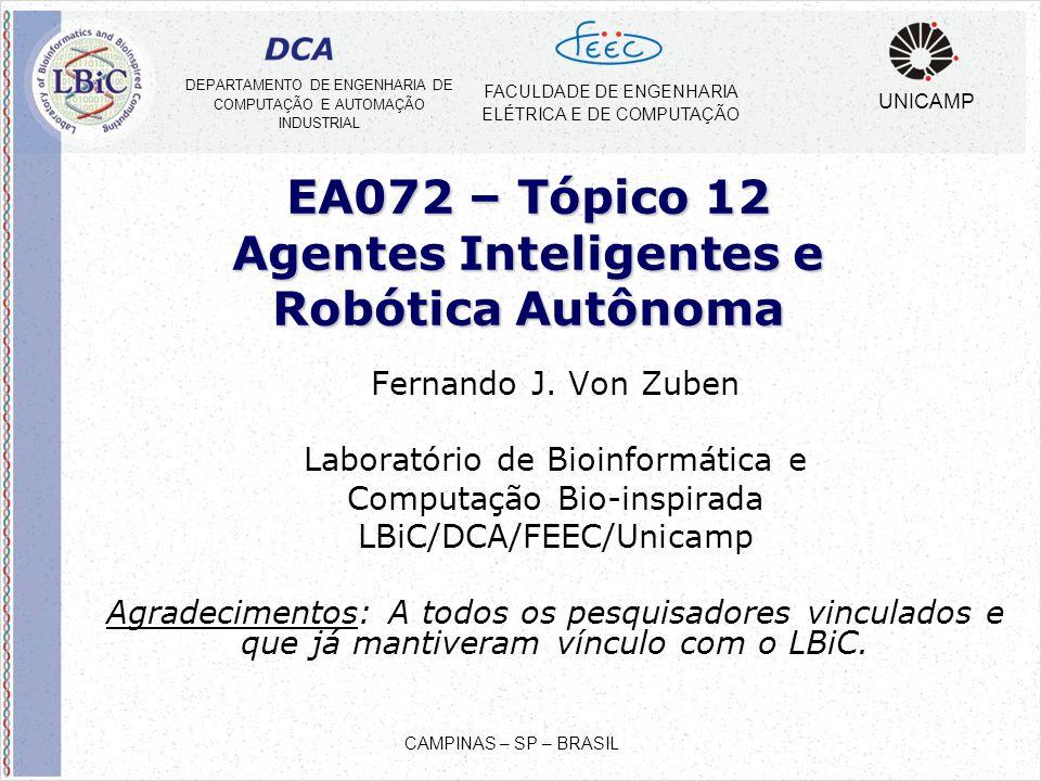 EA072 – Tópico 12 Agentes Inteligentes e Robótica Autônoma Fernando J. Von Zuben Laboratório de Bioinformática e Computação Bio-inspirada LBiC/DCA/FEE