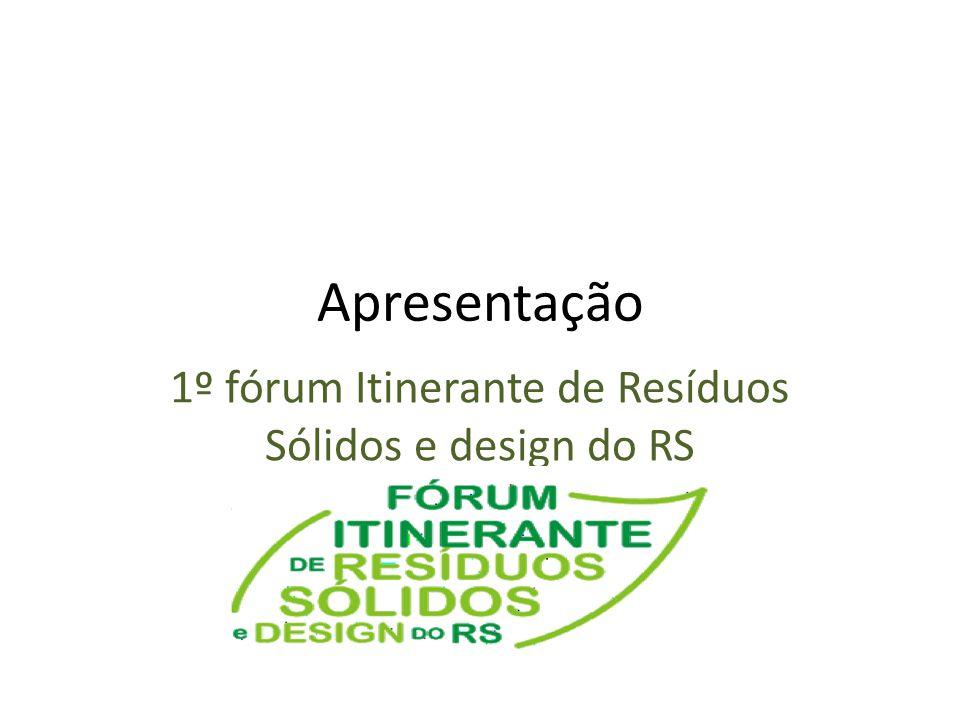 Apresentação 1º fórum Itinerante de Resíduos Sólidos e design do RS