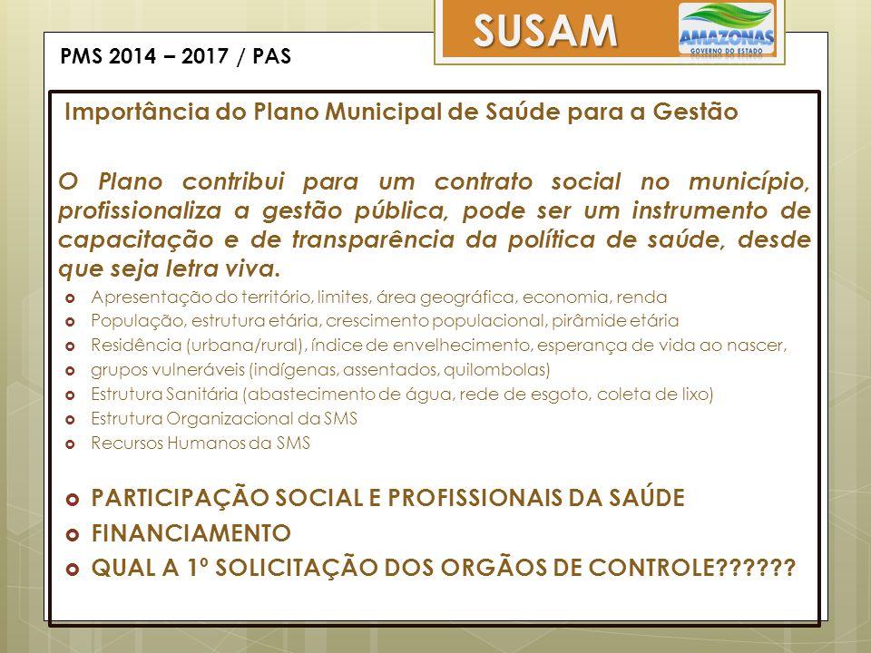PMS 2014 – 2017 / PAS SUSAM Importância do Plano Municipal de Saúde para a Gestão O Plano contribui para um contrato social no município, profissional