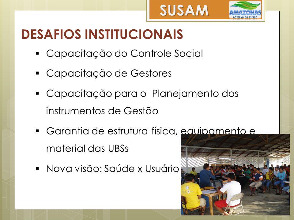 SUSAM DESAFIOS INSTITUCIONAIS  Capacitação do Controle Social  Capacitação de Gestores  Capacitação para o Planejamento dos instrumentos de Gestão