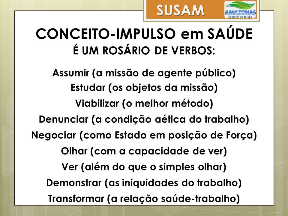 Transformar (a relação saúde-trabalho) Assumir (a missão de agente público) Estudar (os objetos da missão) Viabilizar (o melhor método) Denunciar (a c