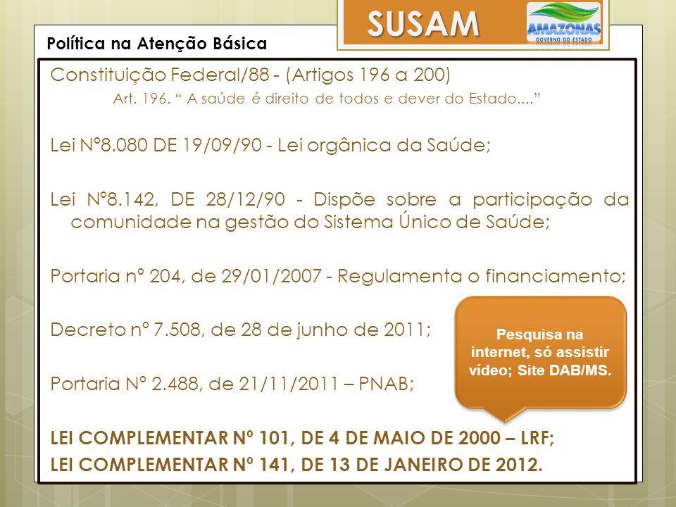 Ações, Programas e Estratégias SUSAM Academia da Saúde / Amamenta e Alimenta Brasil Bolsa Família / Brasil Sorridente Consultório na Rua / Doenças Crônicas Estratégia Saúde da Família / e-SUS Atenção Básica Melhor em Casa / NASF PMAQ / Práticas Integrativas e Complementares Prevenção e Controle dos Agravos Nutricionais PROESF / Promoção da Saúde e da Alimentação Programa Nacional de Suplementação de Vitamina A Requalifica UBS / Rede Cegonha Saúde na Escola (PSE) /Telessaúde Unidade Básica de Saúde Fluvial (UBSF) Vigilância Alimentar e Nutricional PROVAB / MAIS MÉDICOS Programas de Saúde (Saúde da Mulher, Saúde da Criança, Saúde Bucal etc...)