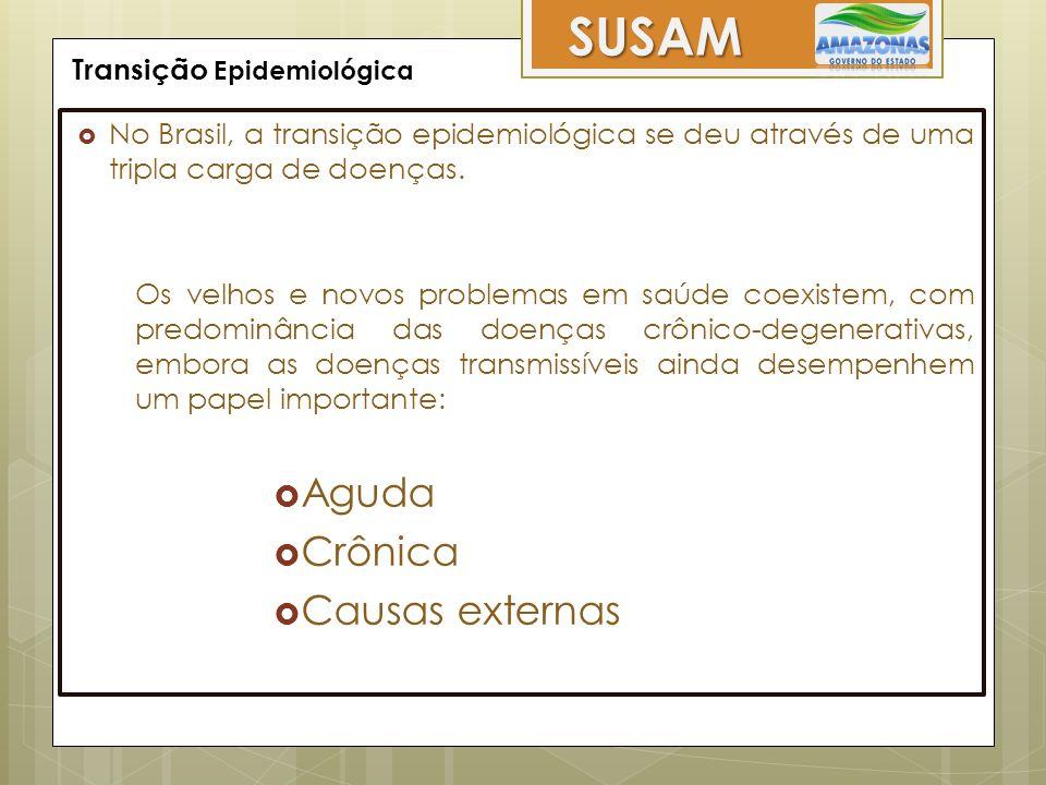 Transição Epidemiológica SUSAM  No Brasil, a transição epidemiológica se deu através de uma tripla carga de doenças. Os velhos e novos problemas em s