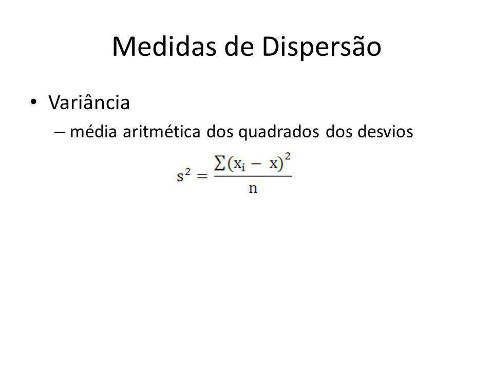 Medidas de Dispersão • Variância – média aritmética dos quadrados dos desvios