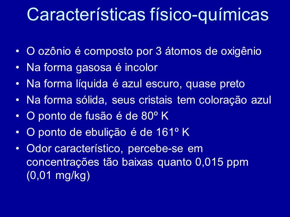 Características físico-químicas •O ozônio é composto por 3 átomos de oxigênio •Na forma gasosa é incolor •Na forma líquida é azul escuro, quase preto