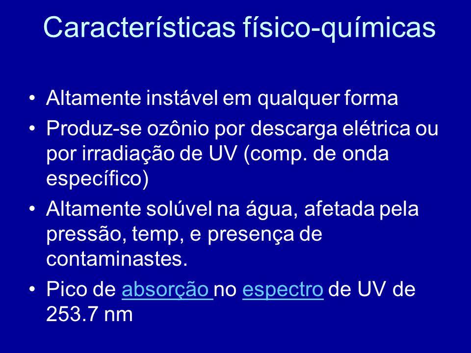 Características físico-químicas •Altamente instável em qualquer forma •Produz-se ozônio por descarga elétrica ou por irradiação de UV (comp. de onda e