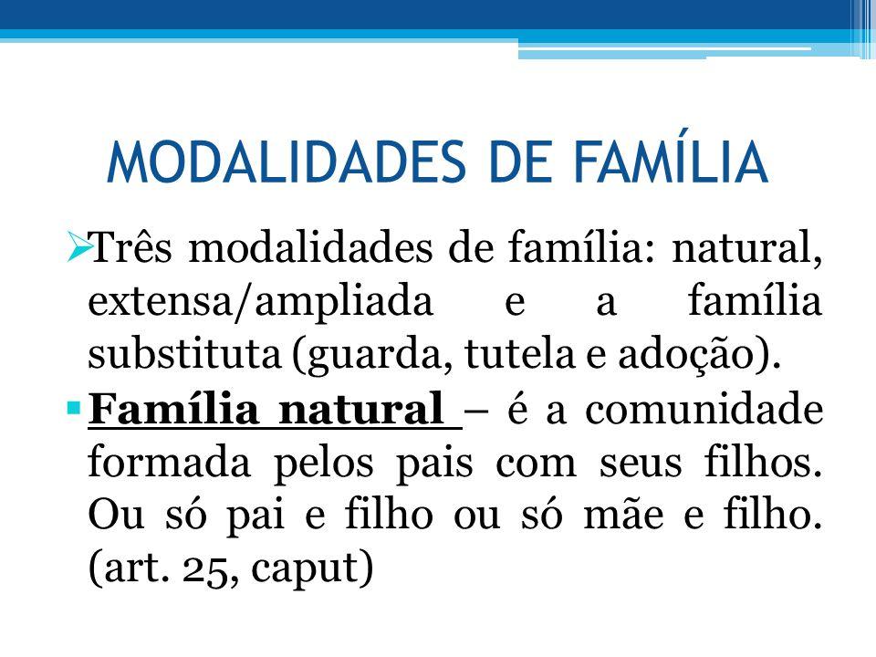MODALIDADES DE FAMÍLIA  Três modalidades de família: natural, extensa/ampliada e a família substituta (guarda, tutela e adoção).  Família natural –