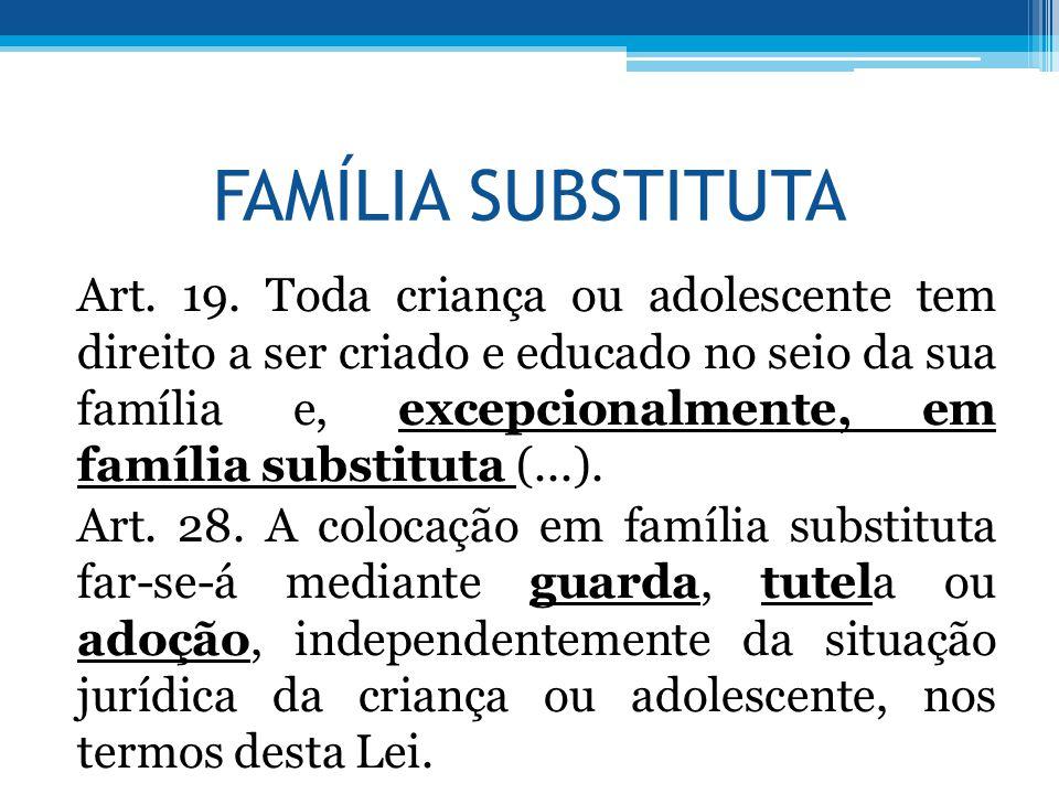 FAMÍLIA SUBSTITUTA Art. 19. Toda criança ou adolescente tem direito a ser criado e educado no seio da sua família e, excepcionalmente, em família subs