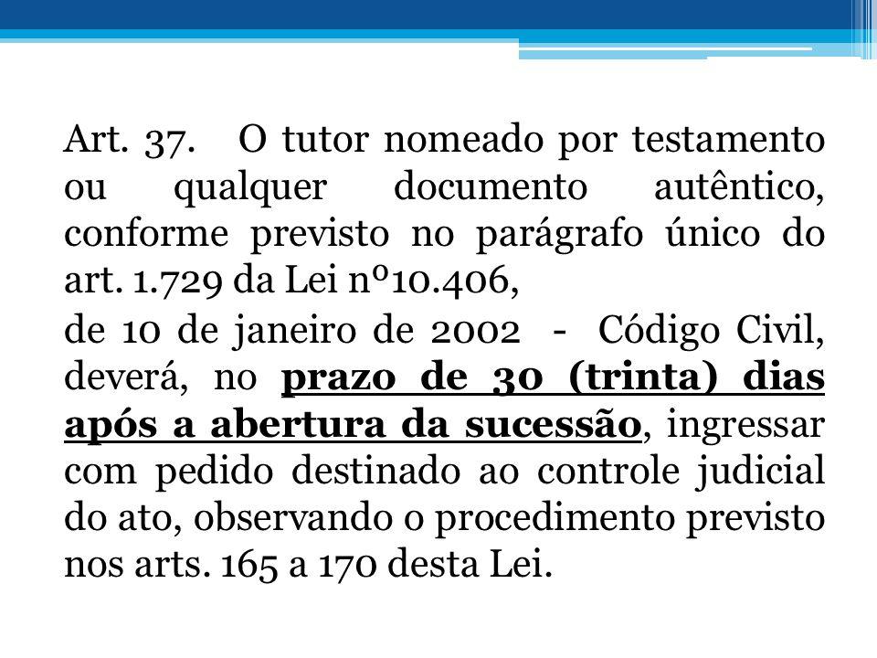 Art. 37. O tutor nomeado por testamento ou qualquer documento autêntico, conforme previsto no parágrafo único do art. 1.729 da Lei nº10.406, de 10 de