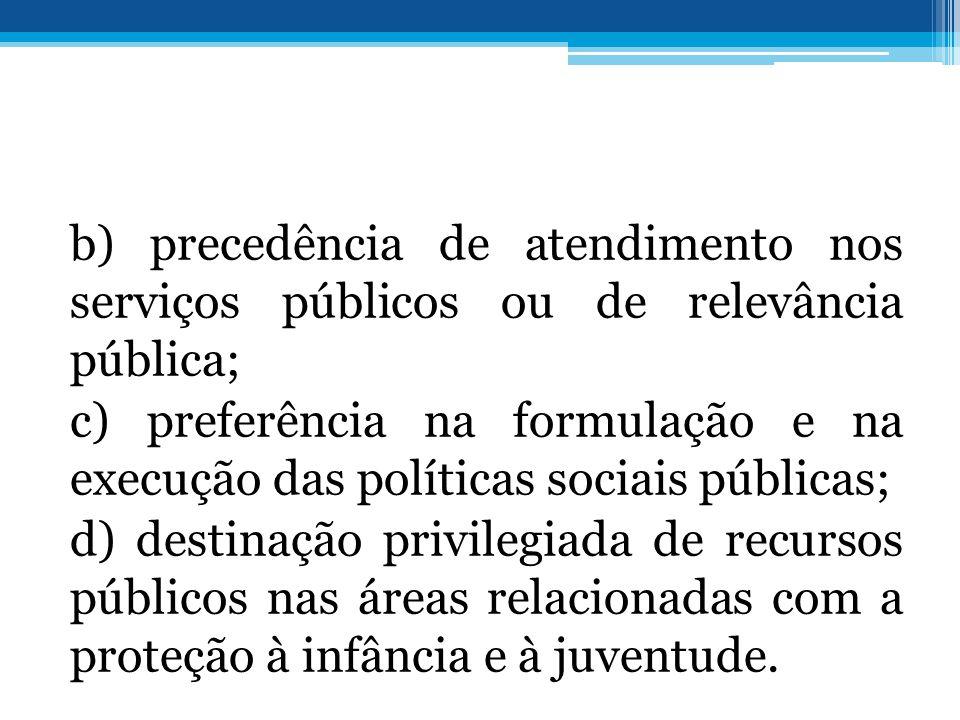 b) precedência de atendimento nos serviços públicos ou de relevância pública; c) preferência na formulação e na execução das políticas sociais pública