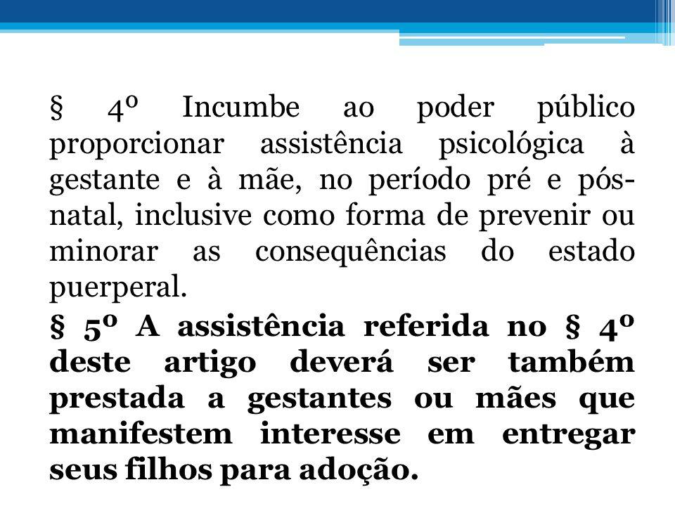 § 4º Incumbe ao poder público proporcionar assistência psicológica à gestante e à mãe, no período pré e pós- natal, inclusive como forma de prevenir o