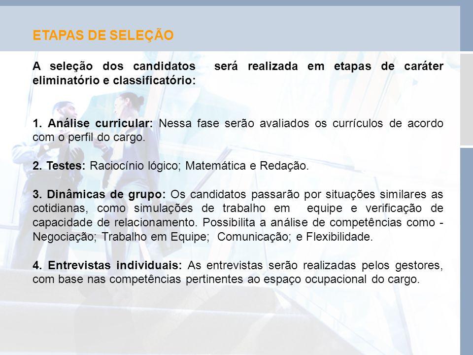 ETAPAS DE SELEÇÃO A seleção dos candidatos será realizada em etapas de caráter eliminatório e classificatório: 1. Análise curricular: Nessa fase serão